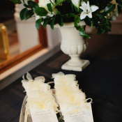 Cream Wedding Programs on Silver Platter