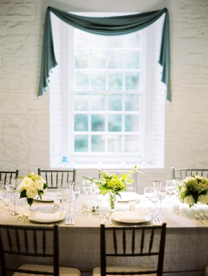 Cream and Green Reception Table Decor