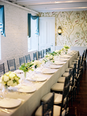 Cream and Green Reception Table Decor