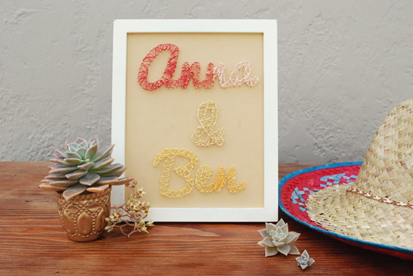 DIY String Art Wedding Sign