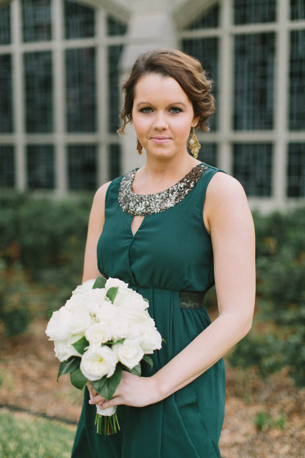 Dark Green and Sequin Halter Style Dress
