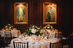 Dark Wood Green and Cream Reception Decor