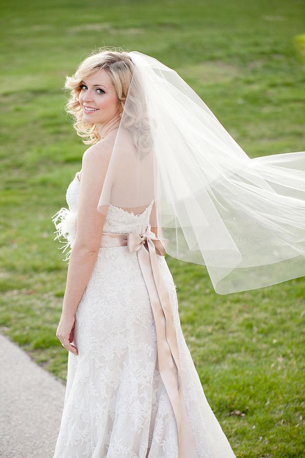 Ecru Silk Ribbon Sash on Bridal Gown
