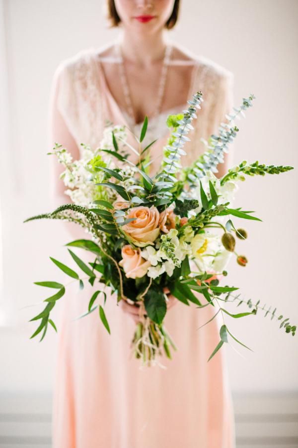 Eucalyptus Peach Rose Bouquet