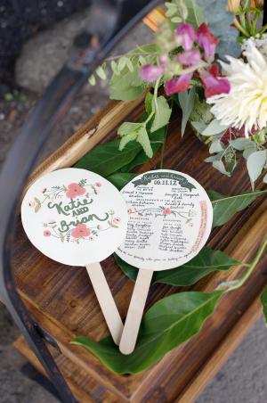 Floral Motif Fan Ceremony Programs