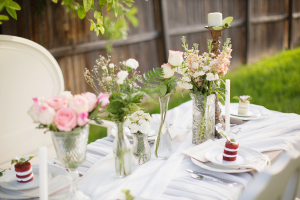 Flowers in Crystal Vases Table Decor