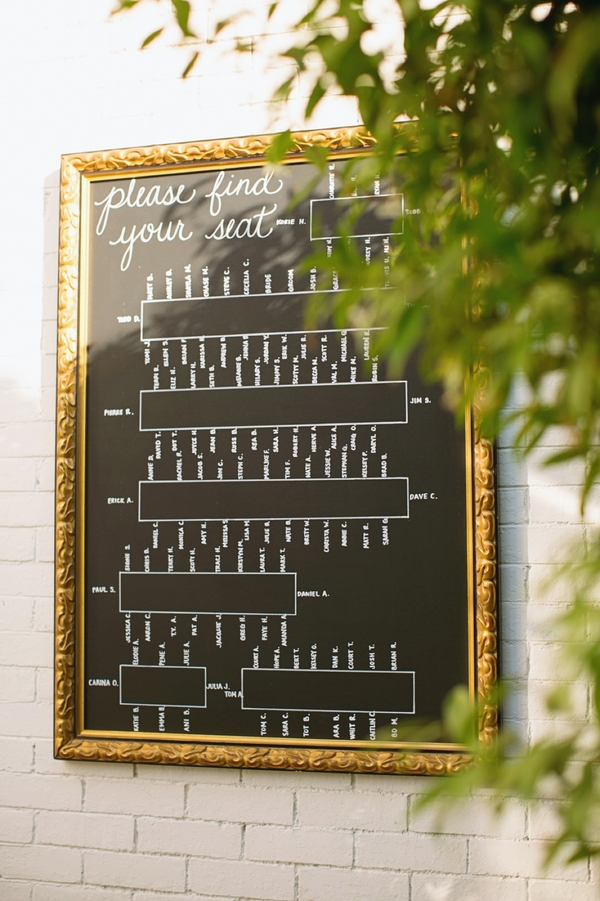 framed glass chalk reception seating chart