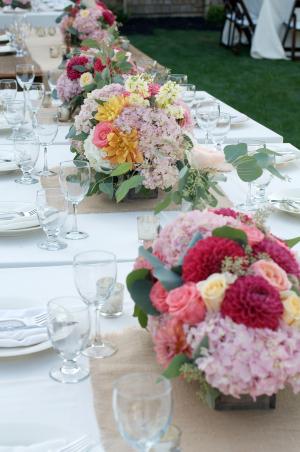 Garden Reception Arrangements in Wooden Boxes