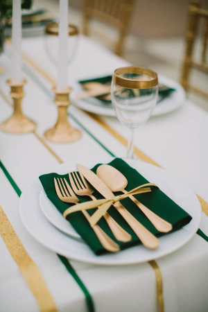 Gold Flatware and Green Linens