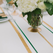Gold Glitter and Green Striped Table Linens