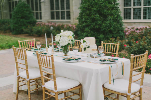 Gold Green and White Table Decor