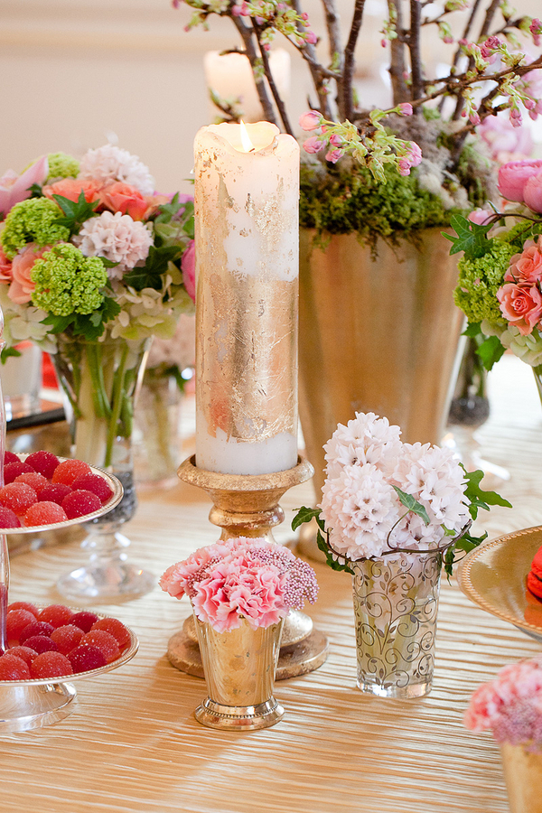 Gold Mercury Glass and Pink Floral Decor Ideas