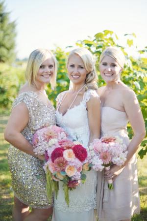 Gold Pink Bridesmaids Dresses