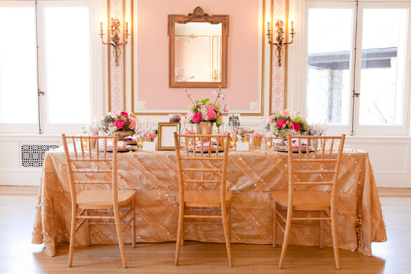 Gold Pink and Green Reception Decor