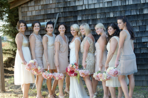 Gold Sequin and Blush Bridesmaids Dresses