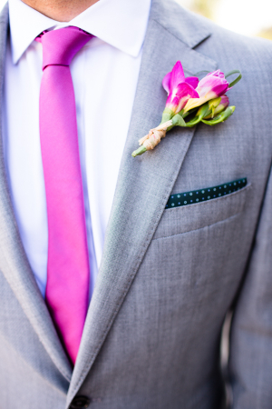 Gray Suit With Pink Tie