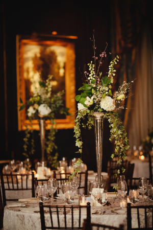 Green and Cream Reception Arrangements in Silver Trumpet Vases