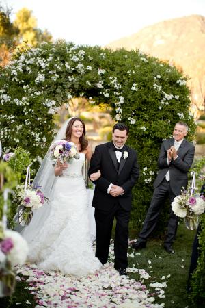 Greenery and Floral Wedding Arch at Santa Barbara Venue