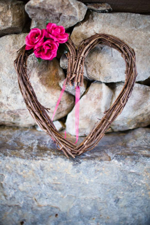 Heart Shaped Twig Wreath With Pink Flowers