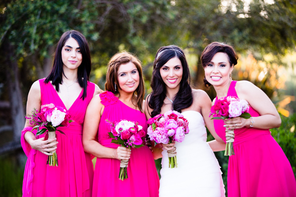 Hot Pink Bridesmaids Dresses