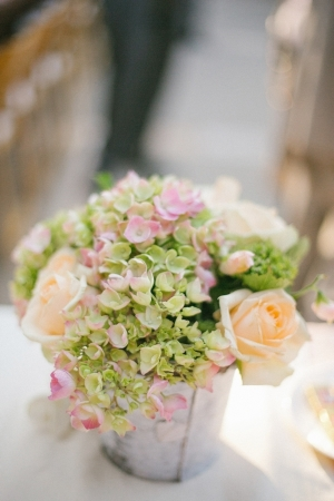 Hydrangeas and Roses in Rustic Pot