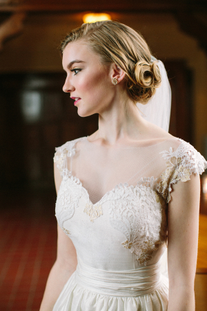 Lace Cap Sleeves on Wedding Gown