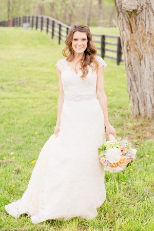 Lace Gown With Rhinestone Belt