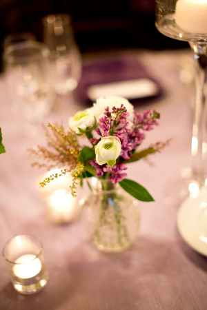 Lavender and Cream Flowers in Bud Vase