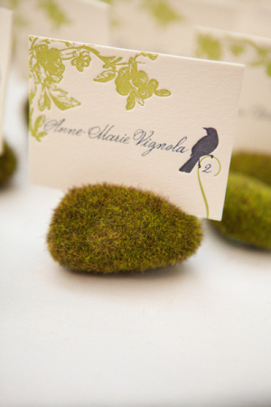 Letterpress Place Cards in Moss Holders