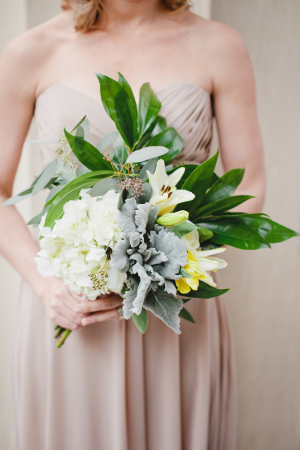 Magnolia Lilly Hydrangea and Dusty Miller Bouquet