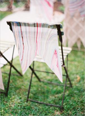 Marbled Fabric Wedding Chair Decor