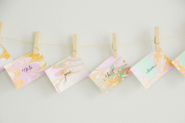 Marbled Pastel Escort Cards