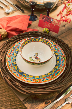 Mediterranean Dishware on Rustic Twig Charger