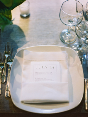 Modern Reception Menu Card