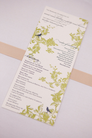 Moss Green Letterpress Ceremony Programs With Bird Motif