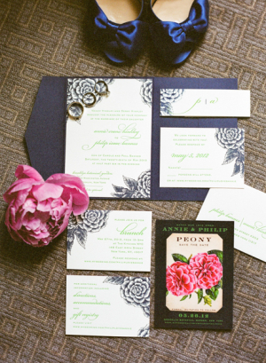 Navy and Pink Peony Wedding Stationery