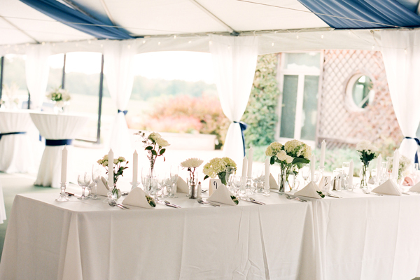 Navy and White Tent Reception Decor