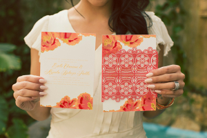 Orange and Pink Wedding Invitations