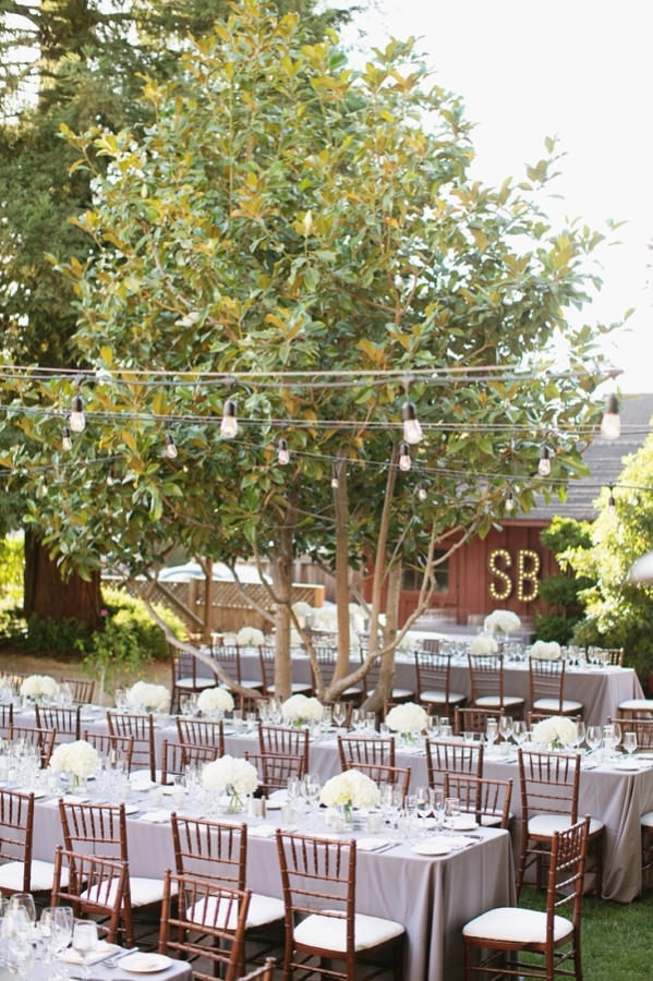 Outdoor Wedding with String Lights