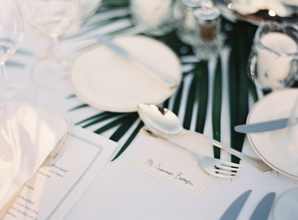 Palm Fronds on Reception Tables