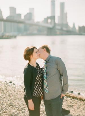 Pastel Plaid Tie Engagement Attire