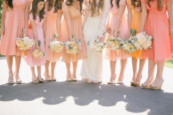 Peach Ombre Bridesmaids Dresses
