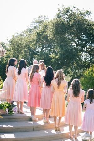 Peach Pink Bridesmaids Dresses