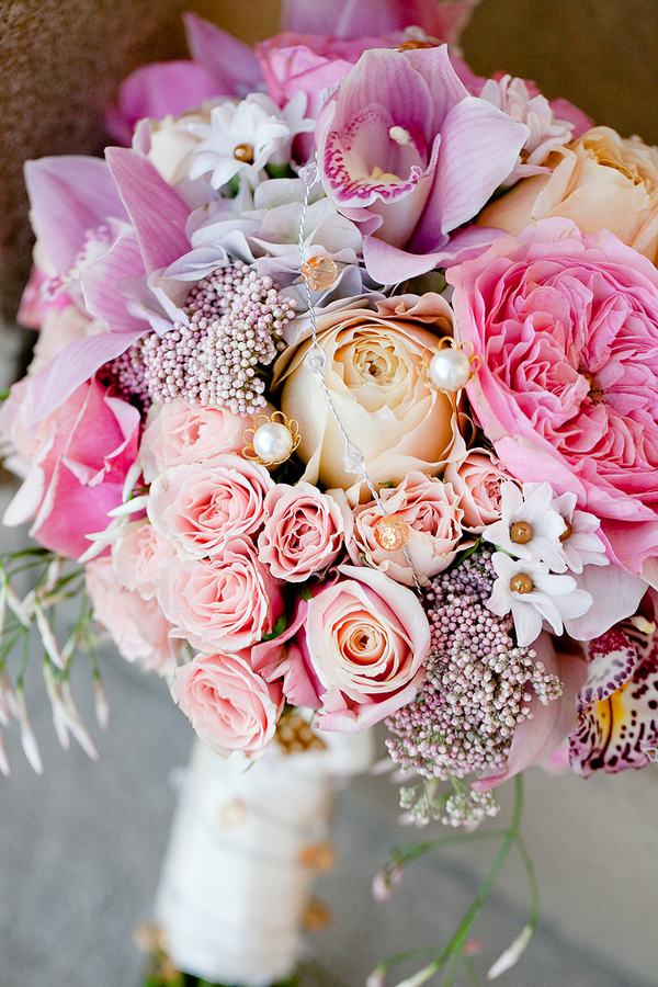 Peach Pink and Lavender Bouquet With Pearls - Elizabeth Anne Designs ...