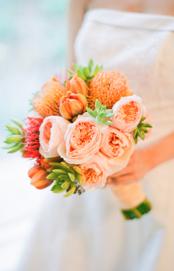Peach and Pale Pink Bouquet