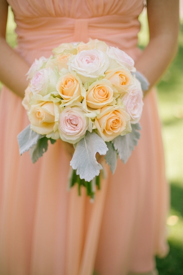 Peach and Pink Rose Bouquet With Dusty Miller