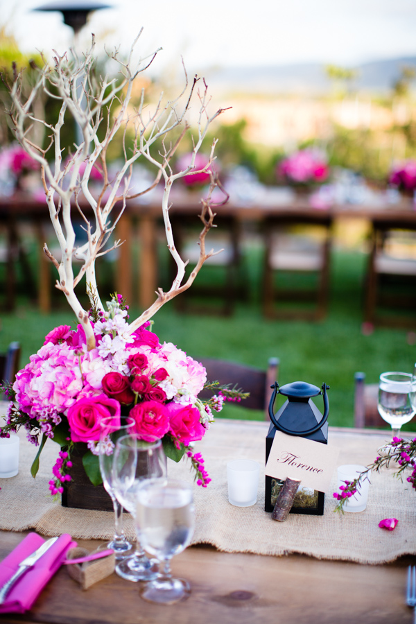 Pink Flower Centerpieces With Tall Branches Elizabeth