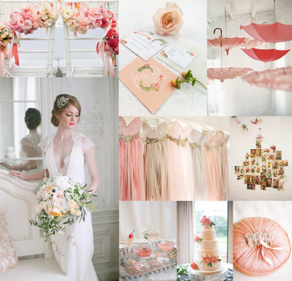 Pink Peach Gray Shabby Chic Wedding Colors