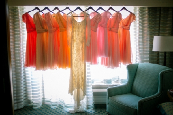 Pink Peach and Orange Bridesmaids Dresses