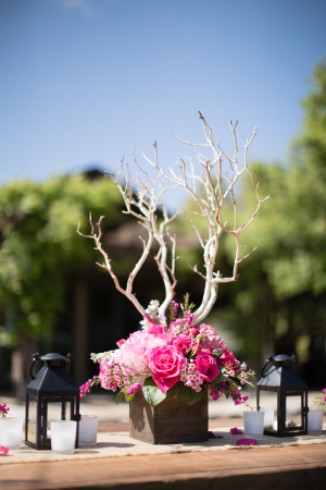 Pink and Branch Centerpiece